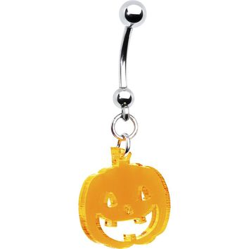 Neon Orange Pumpkin Belly Ring