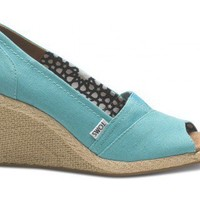 Wedges - Aqua Canvas Women's Wedges | TOMS.com