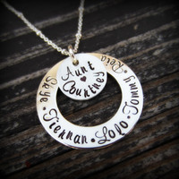 Personalized Aunt Necklace-Sterling Silver Aunt Jewelry-Hand Stamped Jewelry-Gift for Aunt with Names of Nieces and Nephews
