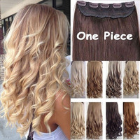 "Big Discount! 17""-26"" Curly/Wavy Long Women lady Clip in Hair Extensions 100% Real Natural Hair Extentions Local Fast Shipping"