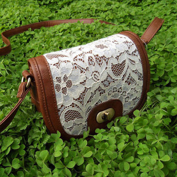 White Lace Brown Cross Body Purse Bag