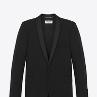SAINT LAURENT ICONIC LE SMOKING JACKET SINGLE BREASTED IN BLACK GRAIN DE POUDRE WOOL | YSL.COM