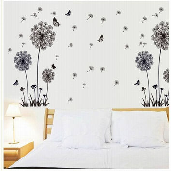 """""""Butterfly Flying In Dandelion """"bedroom stickersPoastoral Style Wall Stickers Original Design 2016 PVC Wall Decals ZY515125"""