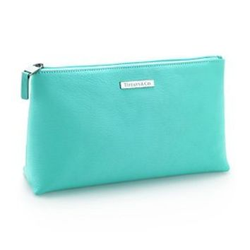 Tiffany & Co. -  Cosmetics bag in Tiffany Blue® leather, medium.  More colors available.