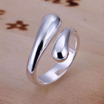 Women's silver plated rings engagement wedding Bridal jewelry R012  , Double Round Head Ring-Opend  wedding rings an