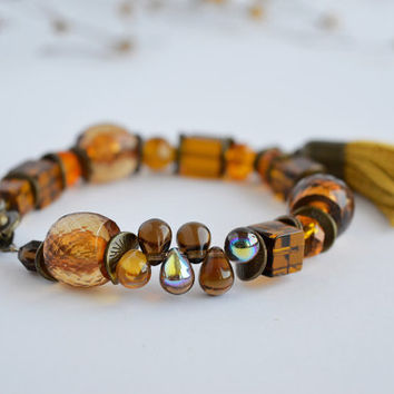 "Honey amber glass  bracelet with tassel / Bronze Clover Pendant round bracelet for diameter of hand 17-18.5 cm (6.7"" - 7.2"") / boho style"
