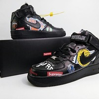 Supreme x NBA x Nike Air Force 1 Mid Black Sneakers
