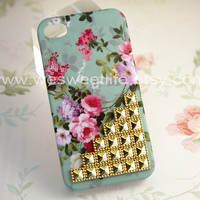 Studded Iphone 4 case, Iphone 4s Case, Golden Studded Iphone Case, Vintage Pink  Flower Light Green Iphone 4 4S Case, Hard case