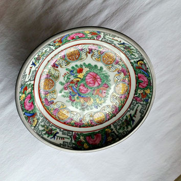 Vintage Oriental Bowl - Pewter Clad - China Bowl - Ornate Oriental Bowl - Encased Porcelain Bowl - Hand Painted Porcelain