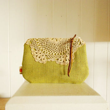 Crochet lace clutch purse / olive green zip purse upcycled  bridesmaid clutch