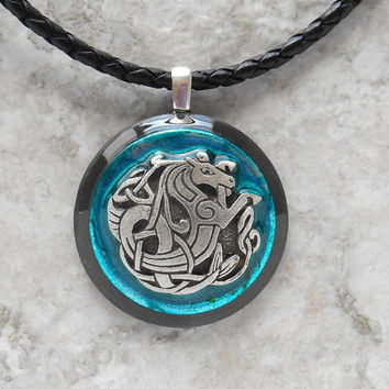 celtic seahorse necklace: blue - men necklace - celtic jewelry - leather cord - mens jewelry - boyfriend gift - water horse - unique jewelry