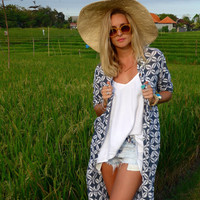 Maxi Jacket Kimono - Navy & White Coffee Bean Print Full length Button Up Dress - Bath Robe