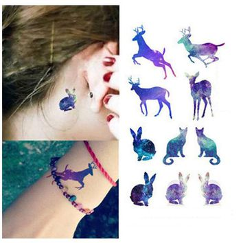 Galaxy Unicorn Gradient Rabbit Deer Disposable Waterproof Temporary Tattoo Stickers For Women female Tatuaje temporal