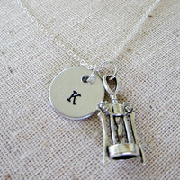 Personalized Hand Stamped Aluminum Initial Necklace with Corkscrew Charm / Hand Stamped Necklace / Personalized Necklace for Bartender