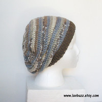 Slouchy Crochet Hat  in light blue, grey, cream and brown stripes, unisex slouch hat, ready to ship.
