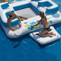 Sun Pleasure Blue Lagoon Huge 6 Person Floating Island Pool Float New in Box