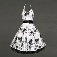 New Women Elegant Pinup Floral Print Retro 50s Style Cocktail Rockabilly Evening Party Gown Swing Pleated Dress = 5738849665
