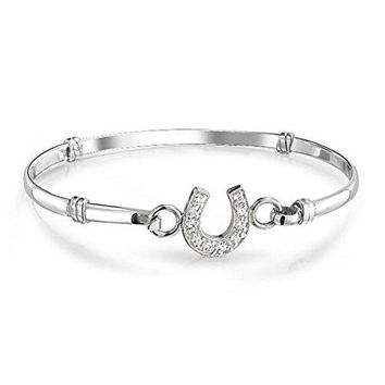 Heart of Charms Heart Love Mom or Best Friend or Sole Sister Bracelet Horseshoe Pave Bangle Cuff Bracelet