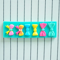 6 Cavities Bow Silicone Heat Safe Polymer Resin Clay Fondant Chocolate Cake Decorating Mold