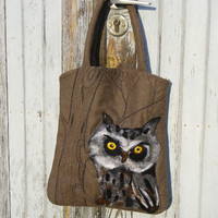 One of kind Large Tote bag OWL  and  Makeup Bag  by MSbluesky