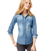 Long Sleeve Denim Woven Shirt - Aeropostale