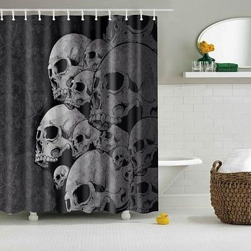 Waterproof Shower Curtain Bathroom Decor Skull Print
