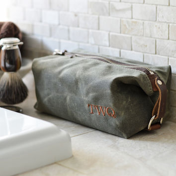 NO. 339 Personalized Compact Dopp Kit, Olive Green Waxed Canvas