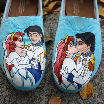 Ariel Prince Eric Wedding Original Custom Acrylic Painting for Toms/Canvas Shoes
