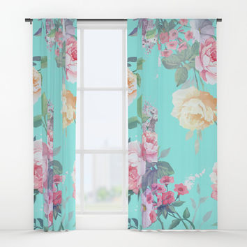 Floral pattern Window Curtains by printapix
