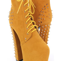 Yellow Faux Suede Lace Up Spike Studded Ankle Booties