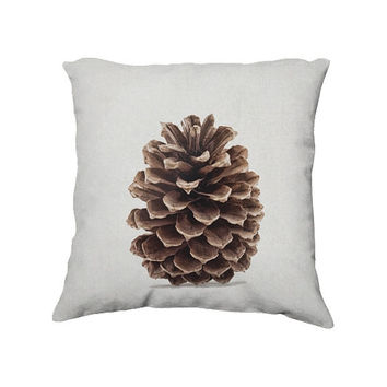 Pinecone Throw Pillow Cover, Nature Photography, Botanical Bedroom Decor, Decorative Photo Pillow Case, 18x18""
