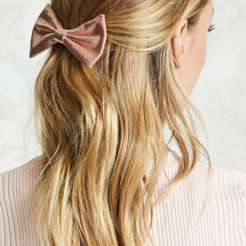 Metallic Bow Hair Barrette