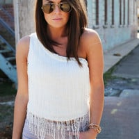 Off The Shoulder Fringe {White}