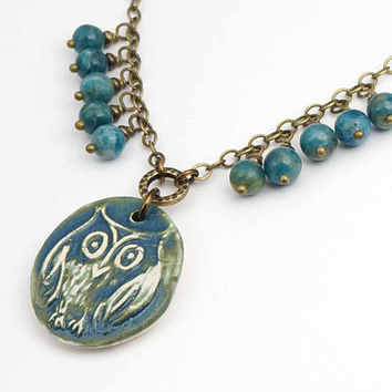 Blue owl necklace, antiqued brass chain, apatite beads, handmade jewelry 19 1/4 inches 49cm