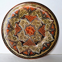 decorative copper plate. Hand engraving and drawing.
