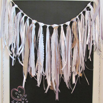 Tied Ribbon Garland, Vintage, Rustic Look  - Wedding / Event Supplies