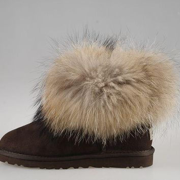 ESBON UGG Fox Women Fashion Casual Wool Winter Snow Boots Chocolate