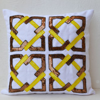 Geometric pillows -White Linen sofa pillows -Decorative throw pillows in yellow copper sequin - Cushion covers- 16X16 pillows- Couch pillow