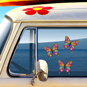 Set of 3 Mini Floral Butterfly Decals - Colorful Car Decal Vinyl Bumper Sticker Hippie Boho Laptop Decal Pink Blue Teal Yellow Green