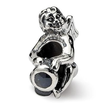 Sterling Silver September CZ Birthstone, Angel Bead Charm