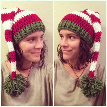 Santa Hat Adult Crochet Custom Striped Christmas