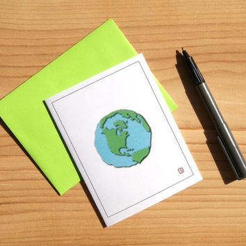 Earth Art Card - Greeting Card - Invitation - Thank You Card - Mini Art - Graphic Earth - FREE SHIPPING