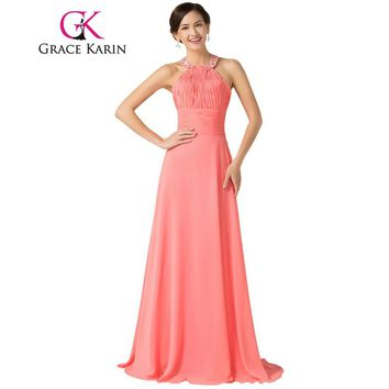 Grace Karin Halter Chiffon Watermelon Long Bridesmaid Dresses 2017 Floor Length Back to School Prom Dress Bridesmaid Gowns