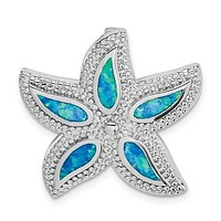 Sterling Silver Blue Opal Starfish Slide Pendant