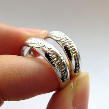 Sounds of Love - Custom Sound Wave Wedding Rings - Your Personal Voice Recording Hand Engraved - White Gold - Rickson Jewellery
