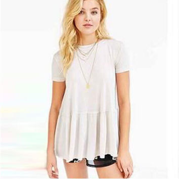 Pleated Short Sleeve T-Shirt