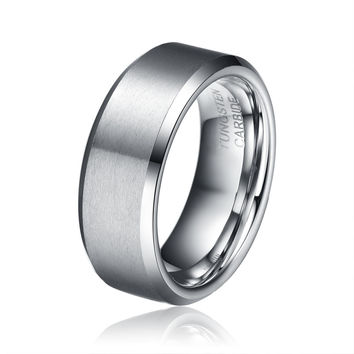 Men's 8mm Tungsten Carbide Wedding Band Rings Comfort Fit Matte Finish Size 9-12 Half Sizes