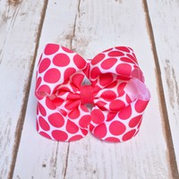 4 inch shocking pink big dot hair bow - available in 5 colors on an alligator clip, snap clip, barrette - Your Final Touch Hair Accessories