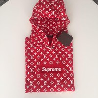 One-nice™ Supreme x Louis Vuitton LV Hoodie Red Box Logo Sweater Size 4L NWT DS Limited