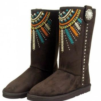 Boho Sunburst Faux Shearling Lined Embroidered Boots